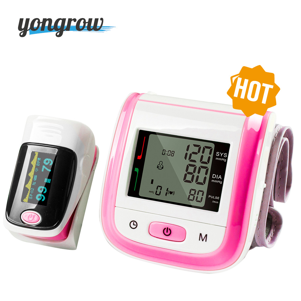 Yongrow Medical Digital Wrist Blood Pressure Monitor and Fingertip Pulse Oximeter SpO2 Family Health Care Sphygmomanometer  Yongrow Medical Digital Wrist Blood Pressure Monitor and Fingertip Pulse Oximeter SpO2 Family Health Care Sphygmomanometer