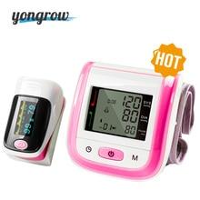 Yongrow Medical Digital muñeca monitor de presión arterial y dedo pulsioxímetro SpO2 Family Health Health Sphygmomanometer