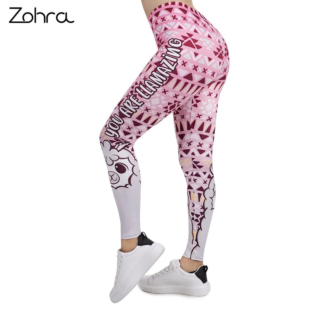 Zohra Women   Legging   Pink Geometric llamazing Printing Leggins Slim High Elasticity Legins Fitness   Leggings   Female Pants