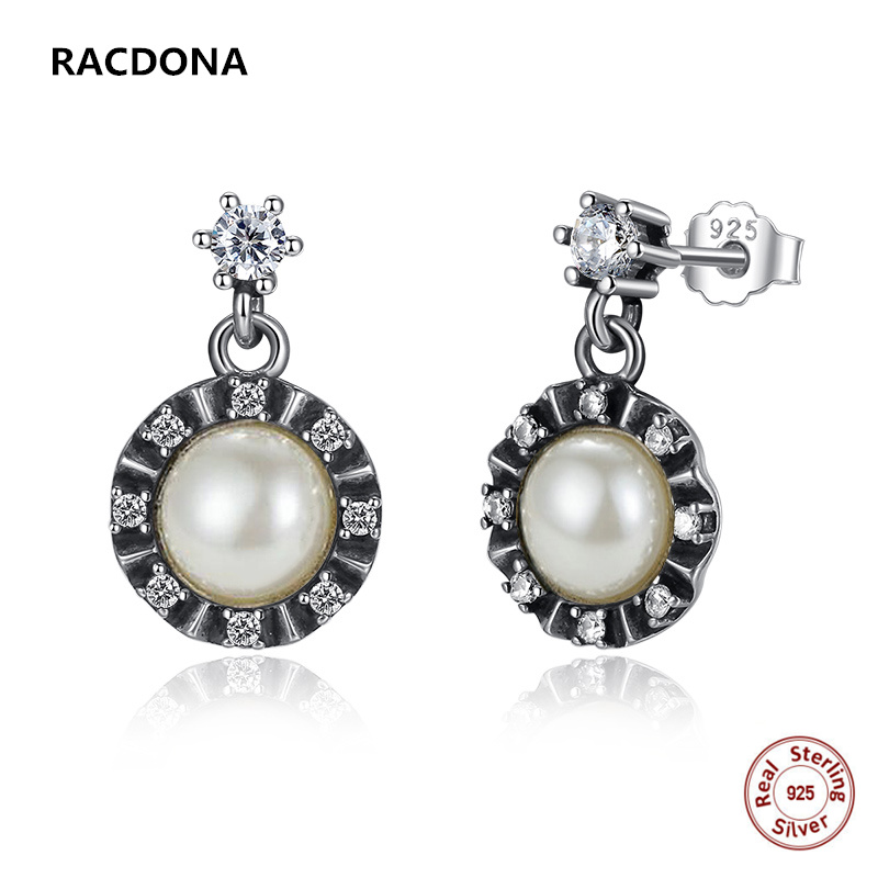 Summer Style 925 Sterling Silver Elegant Pearl Drop Earrings Push-back For Women CZ Earrings Compatible with pan jewelery