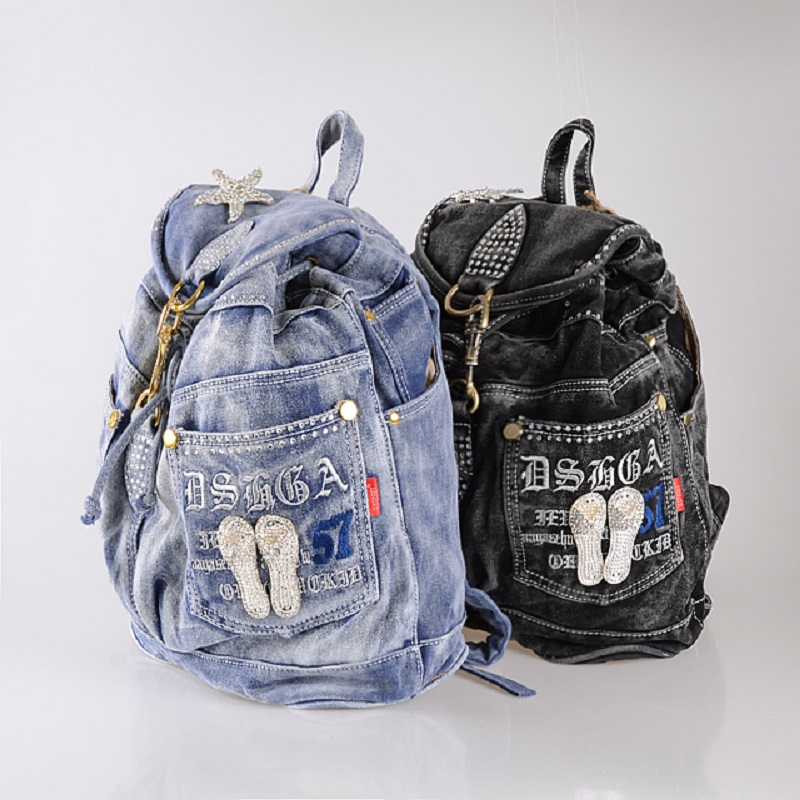 New Vintage Fashion Rhinestone Star Preppy Style Denim Jeans Women Girl's Travel Daypack Backpacks Totes School Bag vintage women jeans calca feminina 2017 fashion new denim jeans tie dye washed loose zipper fly women jeans wide leg pants woman