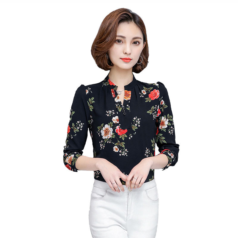 Excellent Flare Sleeve Women Blouses 2017 New Spring Summer Chiffon Blouse