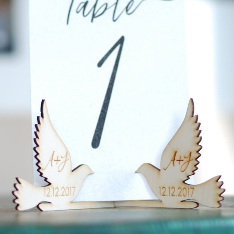 10x Personalized Customized Wood Wooden Doves Table Number Holder Stand Wedding Menu Sign Holder DIY Party Decorations