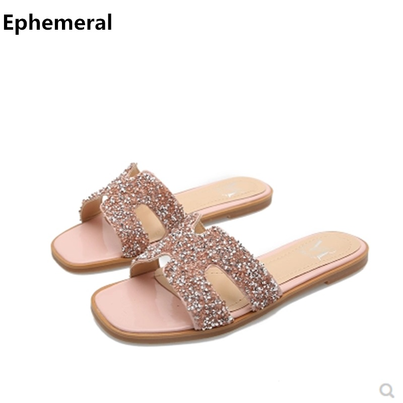 Lady Bling Slippers Open Toe Slides High Quality Fashion H Style Flats  Shoes Beach Summer Plus Size 34 43 Black Red Silver Pink-in Slippers from  Shoes on ... 3af5e7dfb764