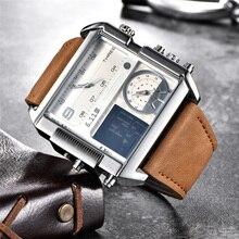 新デザインled桁デュアルディスプレイ男性はビッグサイズの正方形のダイヤルレザーメンズ腕時計の高級ブランド腕時計男性
