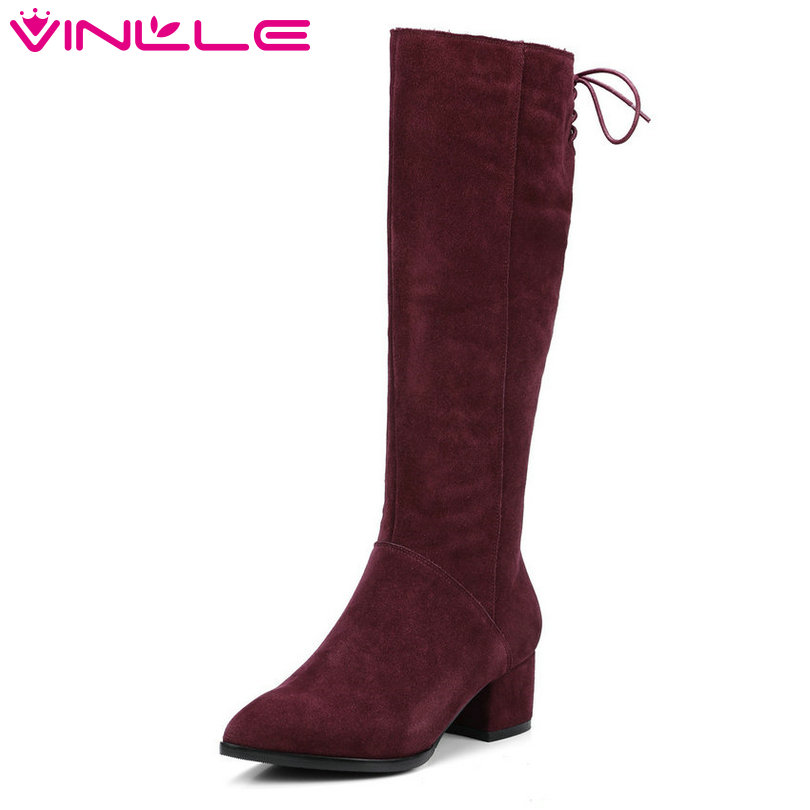 VINLLE 2018 Women Boots Knee High Boots Square Med Heel Zipper Cow Suede Lace Up Ladies Motorcycle Shoes Size 34-39 vinlle 2018 women autumn shoes ankle boots western style lace up square high heel round toe ladies motorcycle shoes size 34 43