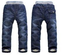 Мальчиков/девочек y кашемир толстый зимний  зимние джинсы теплый бренд детская