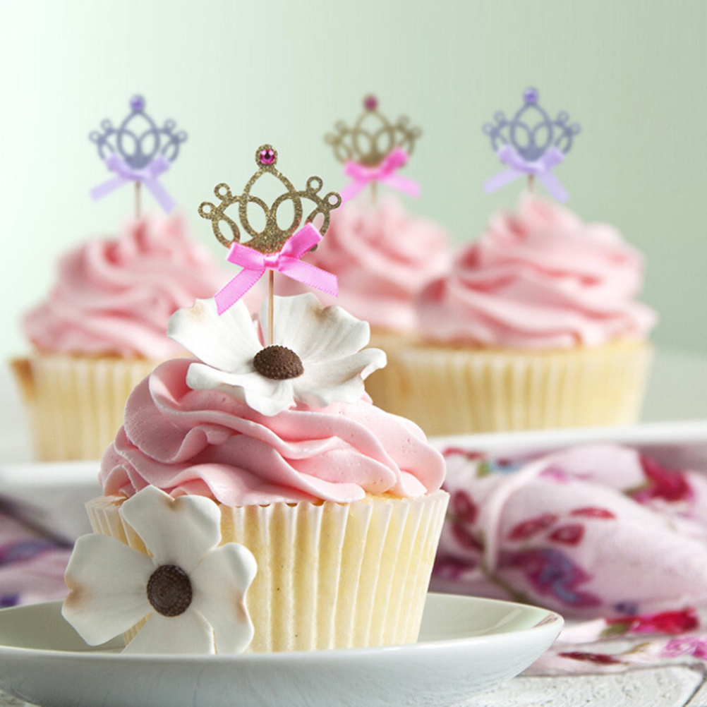 Décoration De Cupcake Us 2 05 16 Off 10pcs Lot Princess Crown Cake Toppers Birthday Decoration Kids Baby Boy Girl Party Decoration Cupcake Toppers 2 Colors In Cake