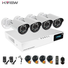 Hview 4CH HDMI AHD DVR CCTV  Security Camera System 720P IR Waterproof CCTV Camera Outdoor Home Video Surveillance Kits