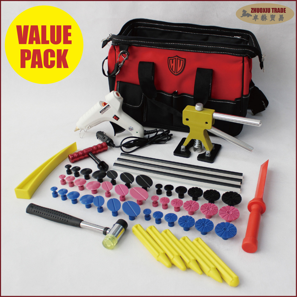 Car Body Paintless Dent Repair Tools Kits PDR Puller Hail Removal & Glue Tabs     PDR-473 pdr tools paintless dent repair tools dent removal tool kits dent puller adhesive sticks glue gun puller tabs