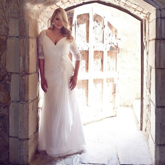 2019 Modest Plus Size Wedding Gowns Custom Made Chiffon Bride Dresses with Sleeve Fashion Vestido de