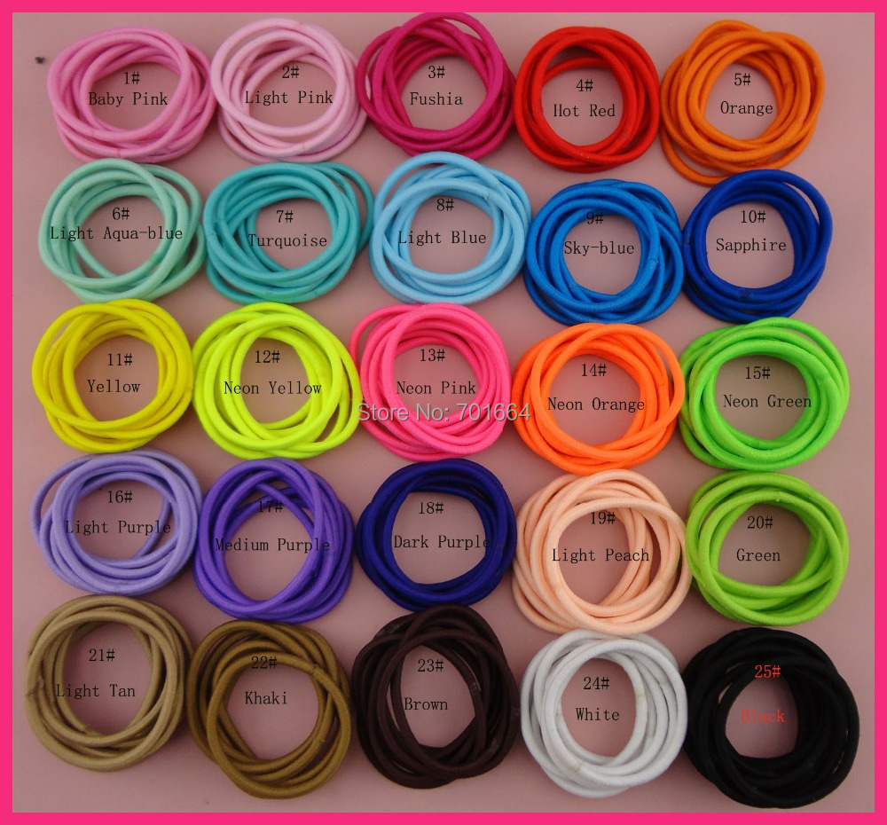 200PCS Multi-colors 4mm Elastic Ponytail Holders with gluing  connection 9e4bfccd20d