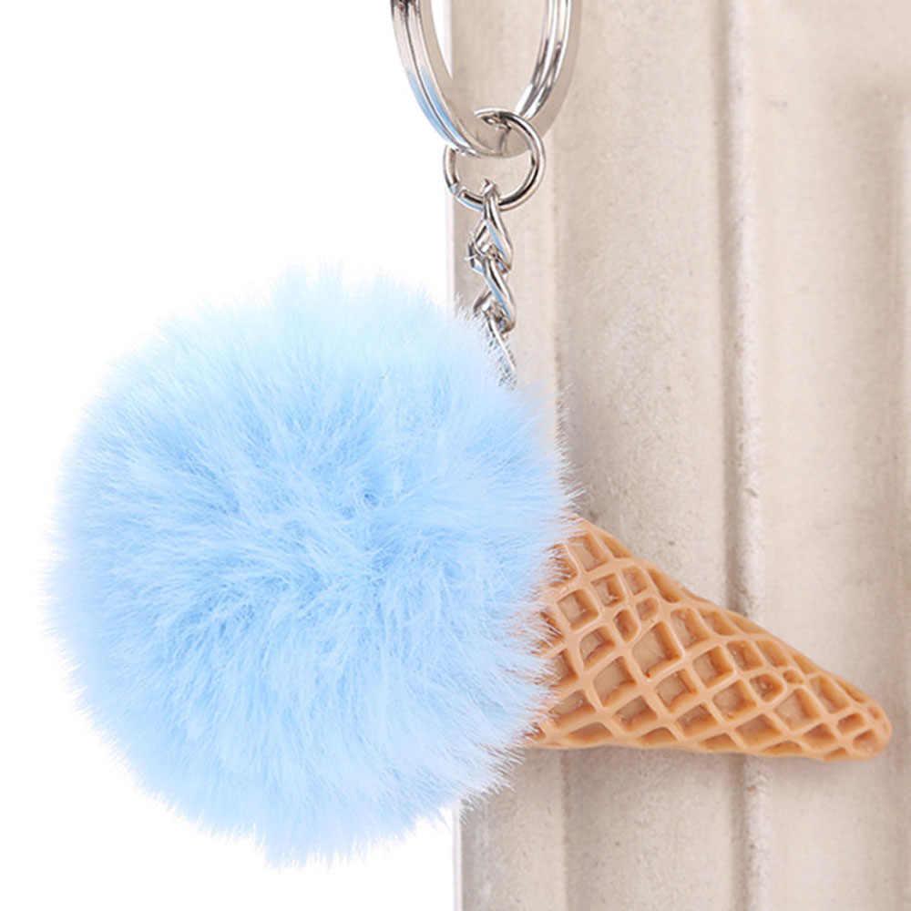 1 pc mulheres bonito bola de pele sorvete carro chaveiro de pelúcia chaveiro chaveiro pompon meninas mochila chaveiro