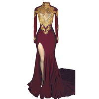 Women's Elegant Mermaid High Neck Prom Dress 2018 New Gold Appliques Long Sleeves Split Evening Gowns side split party dress
