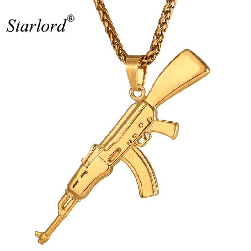 Fashion Cool AK47 Assault Rifle Pendant & Necklace European Hip Hop Jewelry Stainless Steel Gold Color Chain For Men GP2467 1 3 stainless steel ak47 assault rifle display model toy black silver coffee