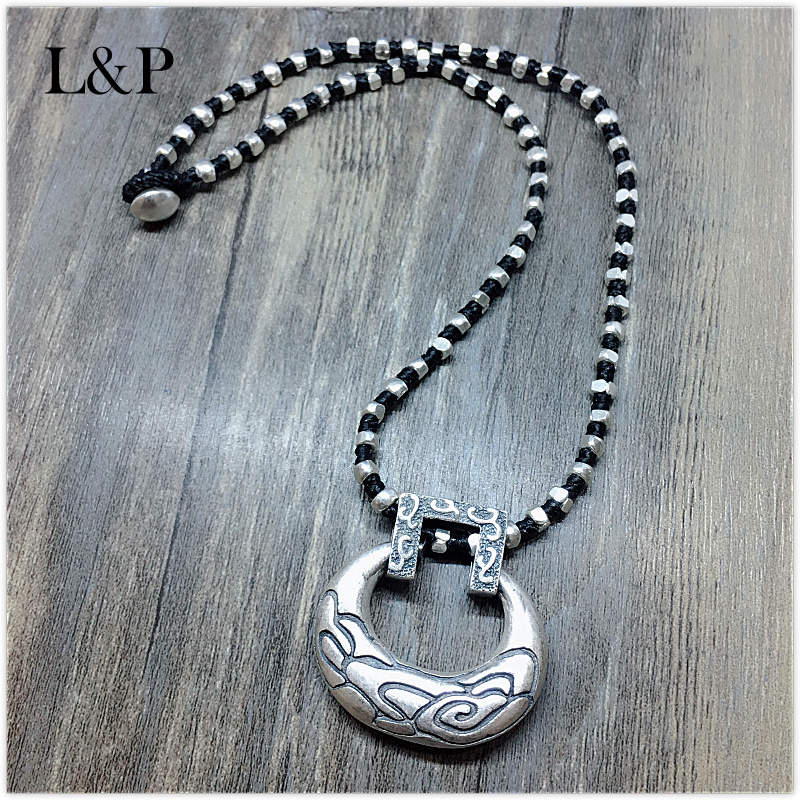 L&P Pure Handmade Sterling Silver pendant necklace jewelry,Vintage silver Yunnan hand-woven necklace girls winter coat 30 degree snow wear children parka coat hooded fur collar velvet clothes kids thick warm jackets for girls