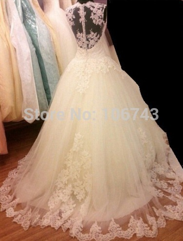 Free shipping new fashion 2016 hot seller vestido de noiva lace appliques White/Ivory beaded Wedding Dresses Bridal Gowns Custom