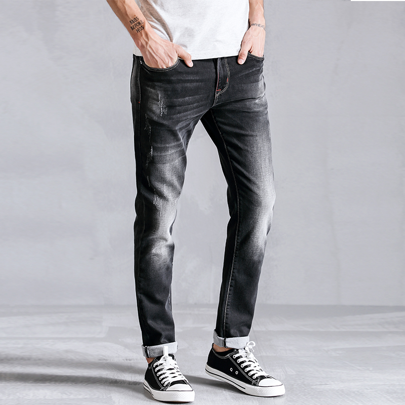 2018 Pencil Skinny Jeans Men Clothes Fashion Casual Distressed Slim Fit Male Elastic Denim Trousers For Mens Clothing