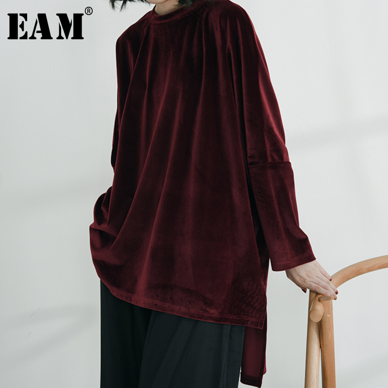 [EAM] 2020 Spring Autumn Woman Stylish Comfortable Wine Red Color Long Sleeve O-neck One Size Loose Plus Size Velvet Shirt LD770