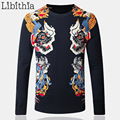 Men's Thin Cotton Knitting Sweaters Autumn Winter Dragon Printed Pullovers Fashion O-Neck Slim Fit China Style Clothes Male K113