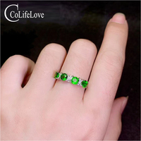 CoLfie Jewelry natural chrome diopside ring 4 pieces 4mm diopside silver ring 925 silver Russain Emerald jewelry