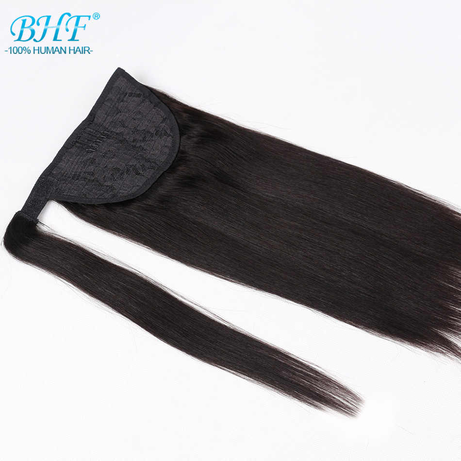 Ponytail Human Hair Machine Remy Straight European Ponytail Hairstyles 60g 100% Natural Hair Clip in Extensions by BHF