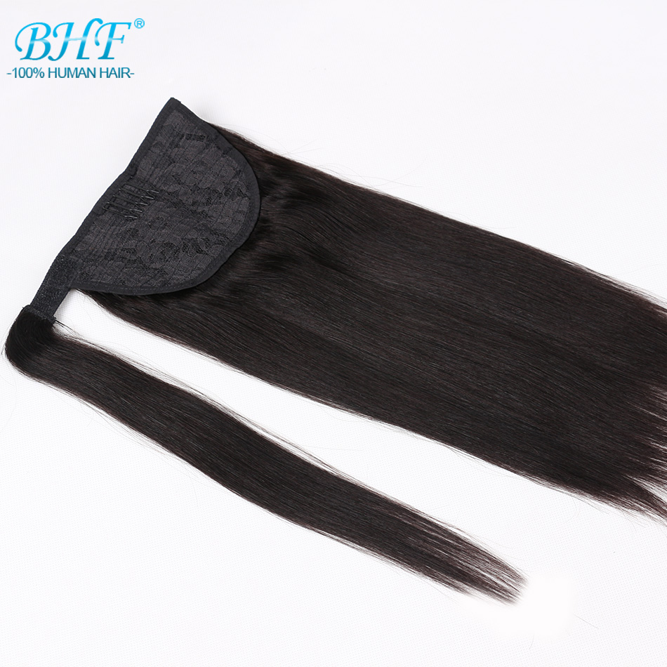 Ponytail Human Hair Remy Straight European Ponytail Hairstyles 60g 100% Natural Hair Clip in Extensions by BHF ...