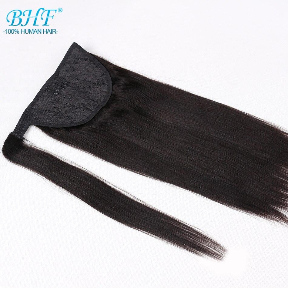 Queue de cheval cheveux humains Remy droite européenne queue de cheval coiffures 60g 100% naturel pince à cheveux dans les Extensions par BHF