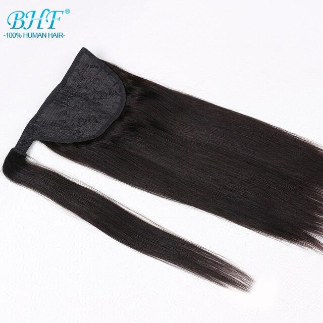 Конский хвост человеческие волосы Remy прямые европейские конский хвост прически 60 г 100% натуральные волосы клип в расширениях от bhf