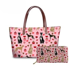 NOISYDESIGNS Greyhound Printing Dogs Floral Women Shoulder Bag Casual Tote Large Top-handle Bags Long Purse Female