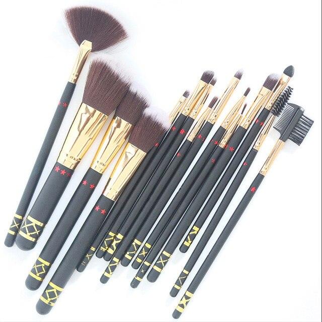 15 PC maquillaje en polvo cepillo de herramientas de maquillaje Fundación maquillaje cepillo de sombra de ojos de contorno de los cepillos conjunto