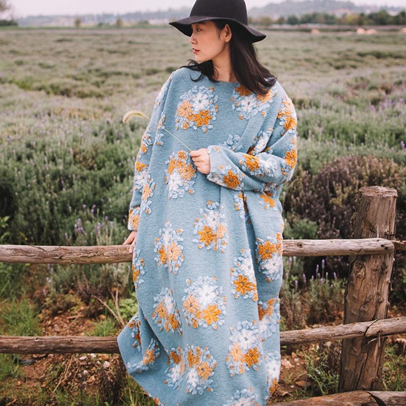 Johnature Для женщин шерстяное платье Вышивка Цветочные Свободные 2018 новые зимние модные женская одежда теплые Винтаж халат длинное платье
