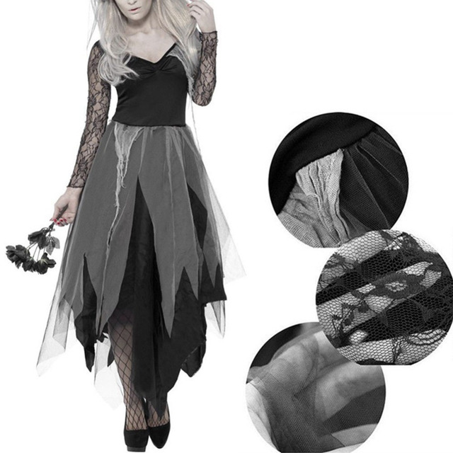 vestido de novia fantasma de gasa de borde de encaje negro para