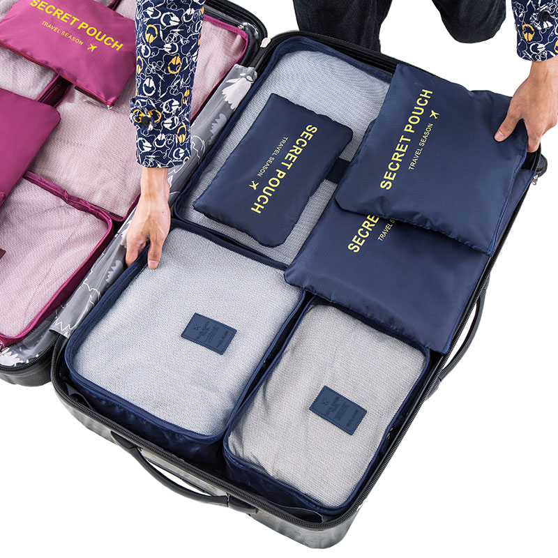 6 Pcs/set Good Quality Waterproof Travel Accessories Fashion Durable Polyester Zipper Travel Packing Cubes