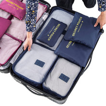 Good Quality Waterproof 6pcs/set Travel Accessories Outdoors Fashion Polyester Travel Packing Cube Organizers
