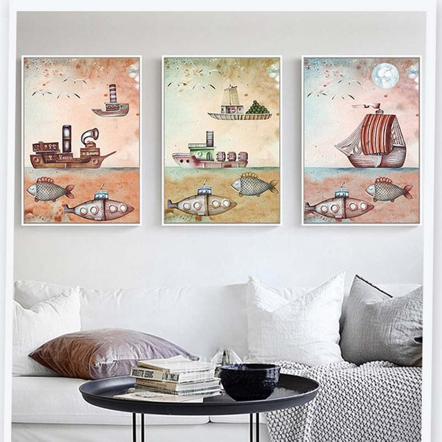 Nodic Re Mechanical Steamer Submarines Cartoon Canvas Painting Picture Wall Posters For Children S Bedroom Decor