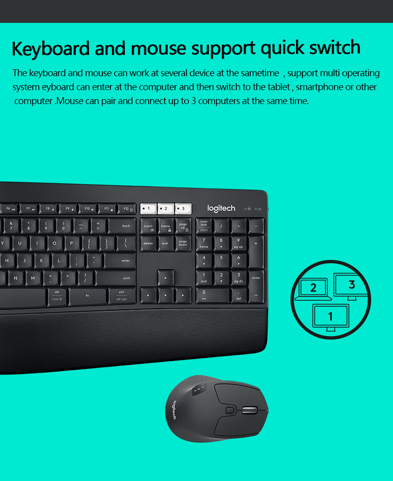 Logitech MK850 Wireless Keyboard Mouse Cambo ,Bluetooth Unifying Mouse and  keyboard set with Flow Function , Multi-screen switch