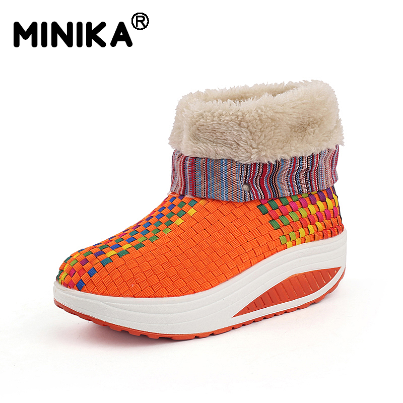 Minika Winter Women Snow Boots With Fur Warm Ankle Boots Outdoor Sneakers Slimming Walking Platform Velvet Wedges Swing Shoes minika soft