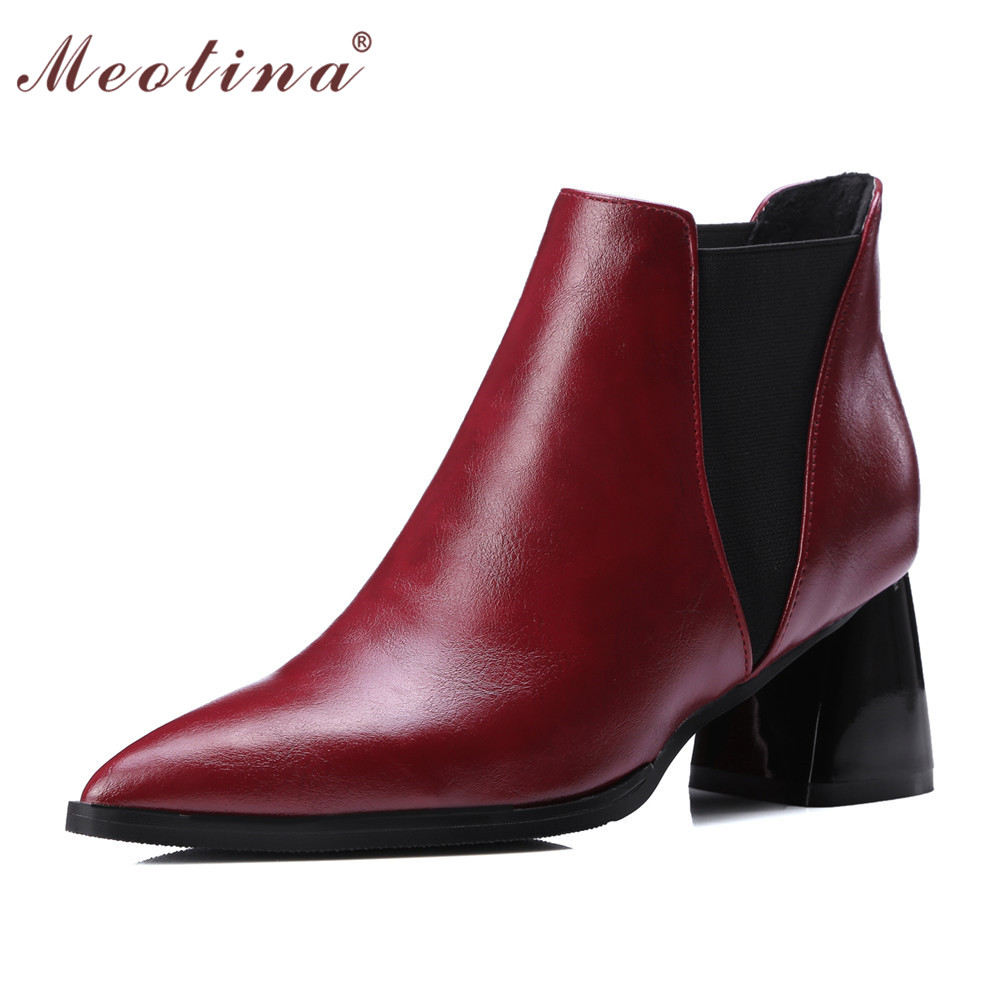 Meotina Latest Shoes Women Ankle Boots Chunky High Heels Martin Boots Pointed Toe Ladies Boots Shoes Wine Red Plus Size 10 42 43 meotina high heels shoes women pumps party shoes fashion thick high heels pointed toe flock ladies shoes gray plus size 10 40 43