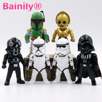 [Bainily]6pcs/set Star Wars 9cm Yoda Darth Vader Stormtroopers <font><b>Action</b></font> <font><b>Figure</b></font> Model Toy Warrior Stormtrooper Robot Vader Yoda Toy