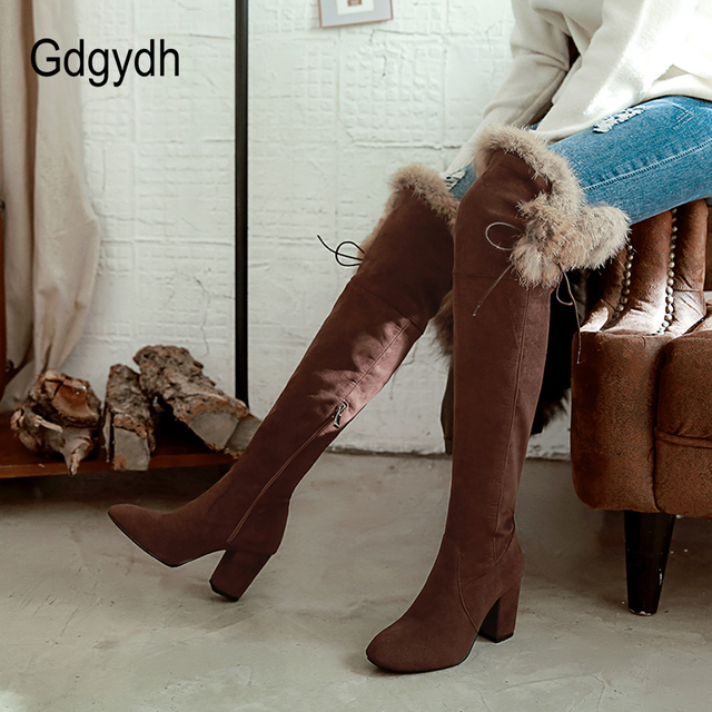 Gdgydh Feminino Botas de Neve de Inverno Quente Sapatos de Mulher Camurça Sobre o Joelho Botas Sapatos De Alta Qualidade 2018 Nova Chegada pelúcia
