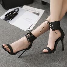 Новые летние европейские женские сандалии на высоком каблуке