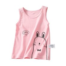 Summer Toddler Girls Boys Sleeveless Vest Cartoon Rabbit Print Tops Blouse Cotton Casual Children Outfits 2-7T(China)
