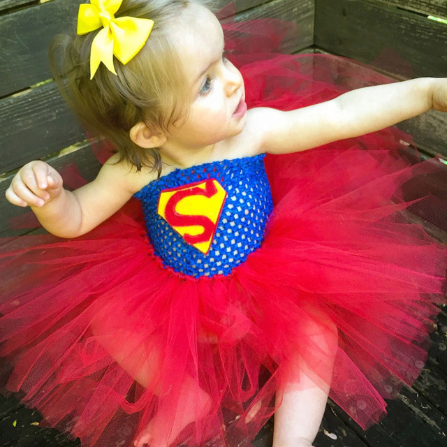 Moda lovely girl bebé regalo \ tutú del ganchillo azul y rojo vestidos de fiesta de cumpleaños para las niñas