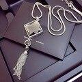 Vintage Geométrica Collar Colgante de Cristal Elegante Flor OL Accesorios Femeninos de Largo Collar de La Joyería de la Cadena Suéter Borla