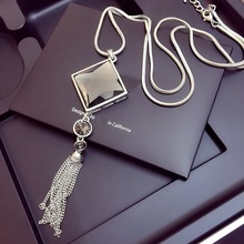 Vintage Geometrical Crystal Pendant Necklace Elegant Flower Tassel Sweater Chain OL Long Necklace Jewelry Female Accessories
