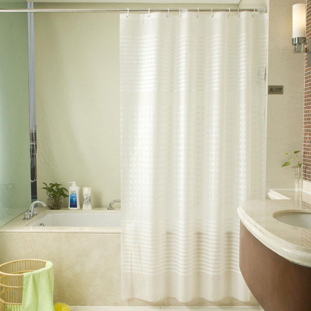 European Style PEVA Shower Curtain Waterproof Thick Plastic Mold Partition Bathroom Drape Curtai