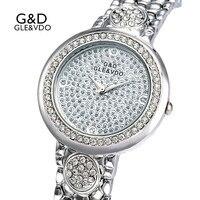 2017 G D GLE VDO Womens Quartz Watches Silver Luxury Womem S Bracelet Watches Ladies Dress