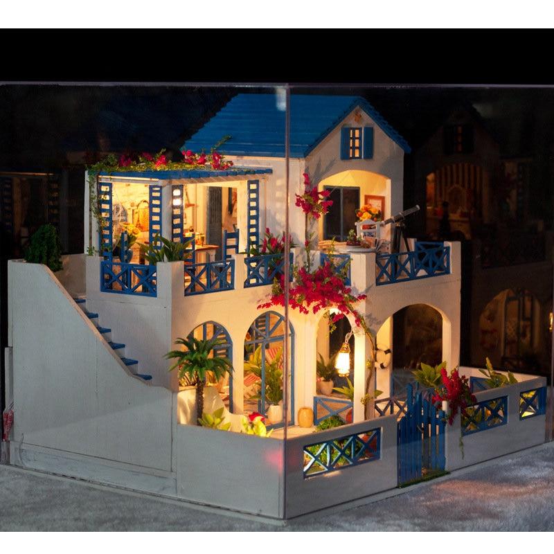 K-006 Meteor Garden DIY Dollhouse With Music Light Cover Miniature Model Doll House Children Kids Intelligence Gift
