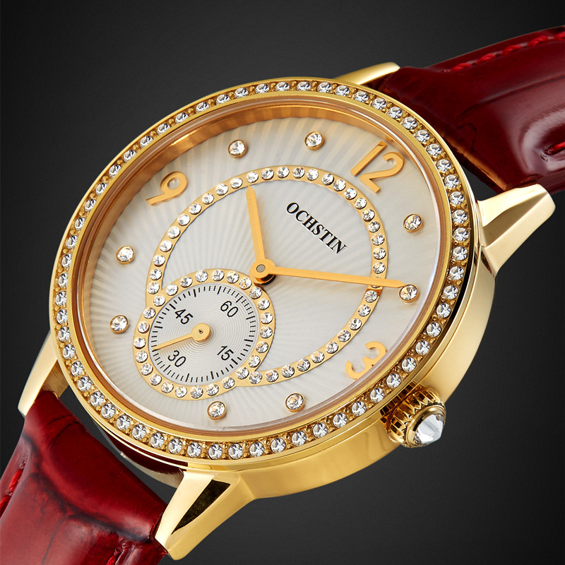 2016 Brand OCHSTIN Relogio Feminino Clock Female Genuine leather dress Watch Women Ladies Fashion Casual Quartz Wrist Watches 2016 new fashion geneva women watch diamonds dress ladies casual quartz watch leather wrist women watches brand relogio feminino